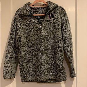UW University o Washington Sherpa 1/4 Zip Pullover